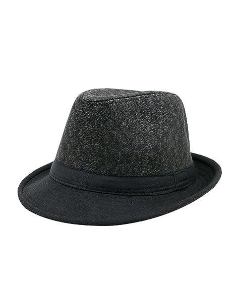 CLOCOLOR Hombre Sombrero de Jazz Fedora Otoño Invierno Bombín Gorro Casual  Panamá para Hombre Negro  Amazon.es  Ropa y accesorios b3bc0a3c0ba