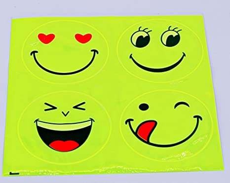 Set von Reflektorband Ruler Smiles Reflektor Smile Reflektierende Anhänger GELB