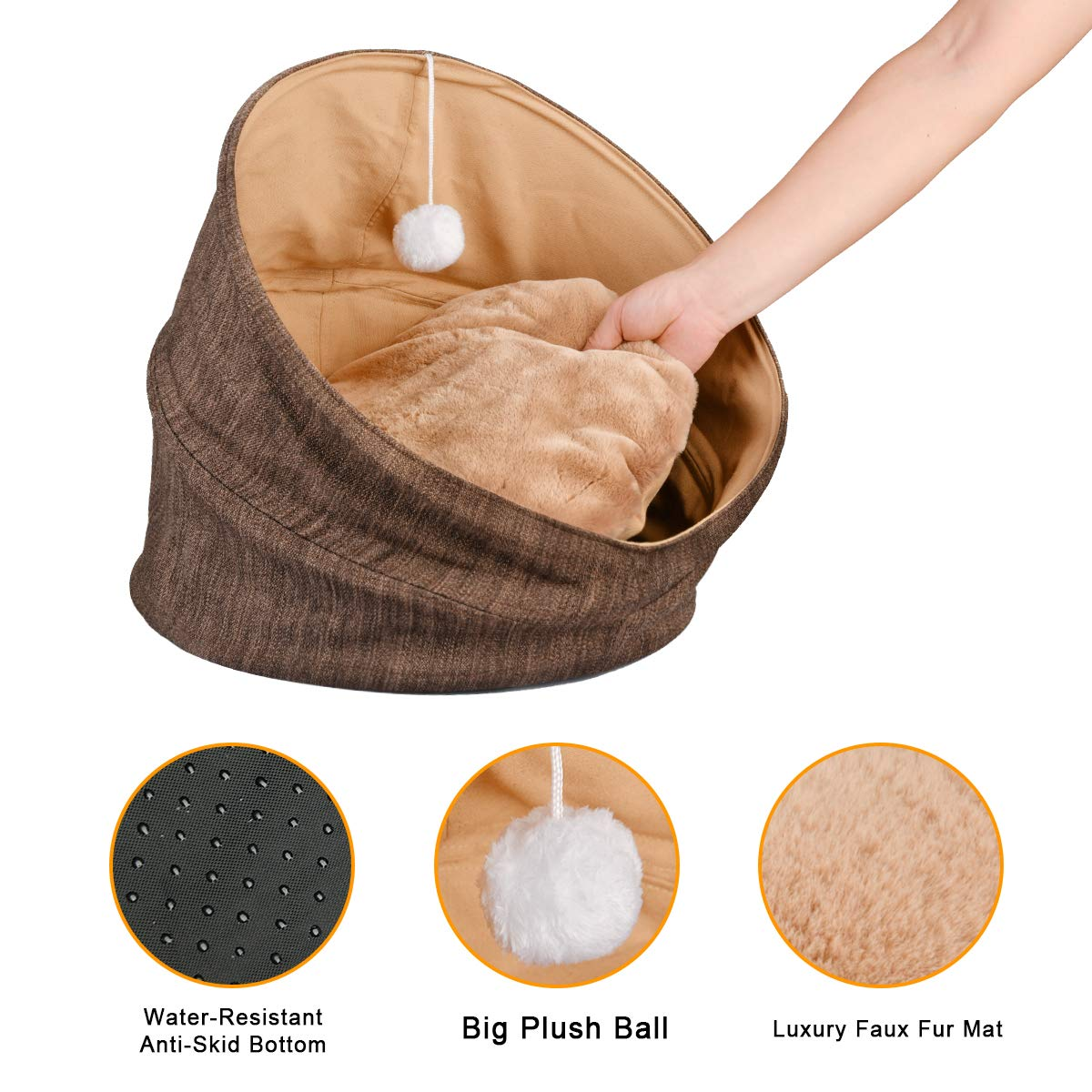 Cuddle Cave Pet Bed Tent for Cats or Small Dogs, Washable Foldable Kitten House with Luxury Shag Faux Fur Mattress & Toy Ball - Brown (18inch) by SUOCO (Image #2)