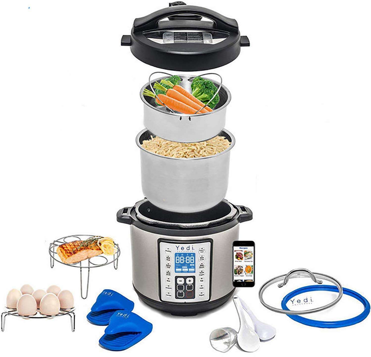 Total Package 9-in-1 Instant Multi-Use Programmable Pressure Cooker, Deluxe Accessory Kit & Recipes. Pressure Cook, Slow Cook, Sauté, Egg, Rice Cooker, Yogurt, Steamer, Hot Pot by Yedi Houseware (6Qt) by Yedi Houseware (Image #1)