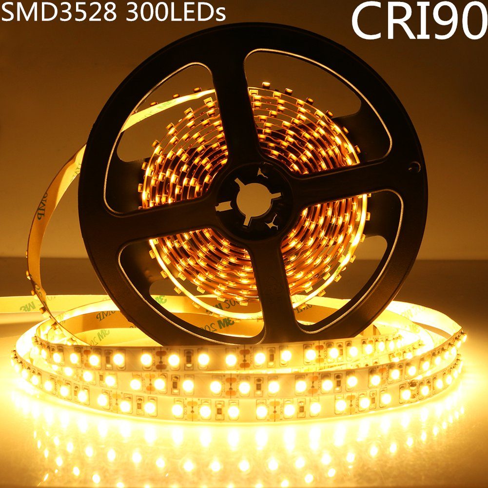LightingWill LED Strip Lights CRI90 SMD3528 300LEDs 16.4Ft/5M Ultra Warm White 2700K-3000K DC12V 24W 60LEDs/M 4.8W/M 8mm White PCB Flexible Ribbon Strip with Adhesive Tape Non-Waterproof H3528UWW300N