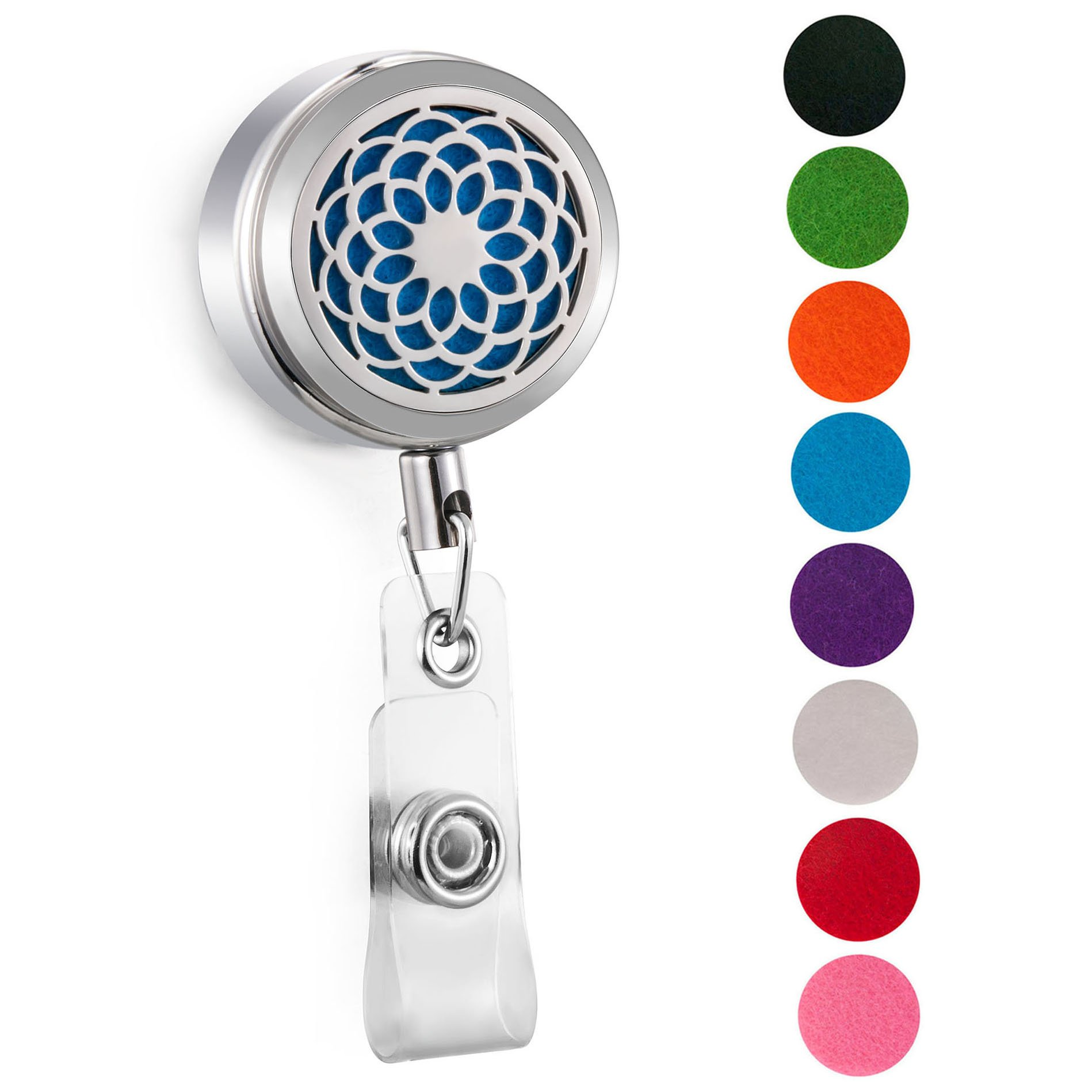 CAPTTE Aromatherapy Essential Oil Badge Diffuser for Nurse Wear-Resisting and Retractable Badge Holder Reel Clip On Id Card Holders with Sunflower