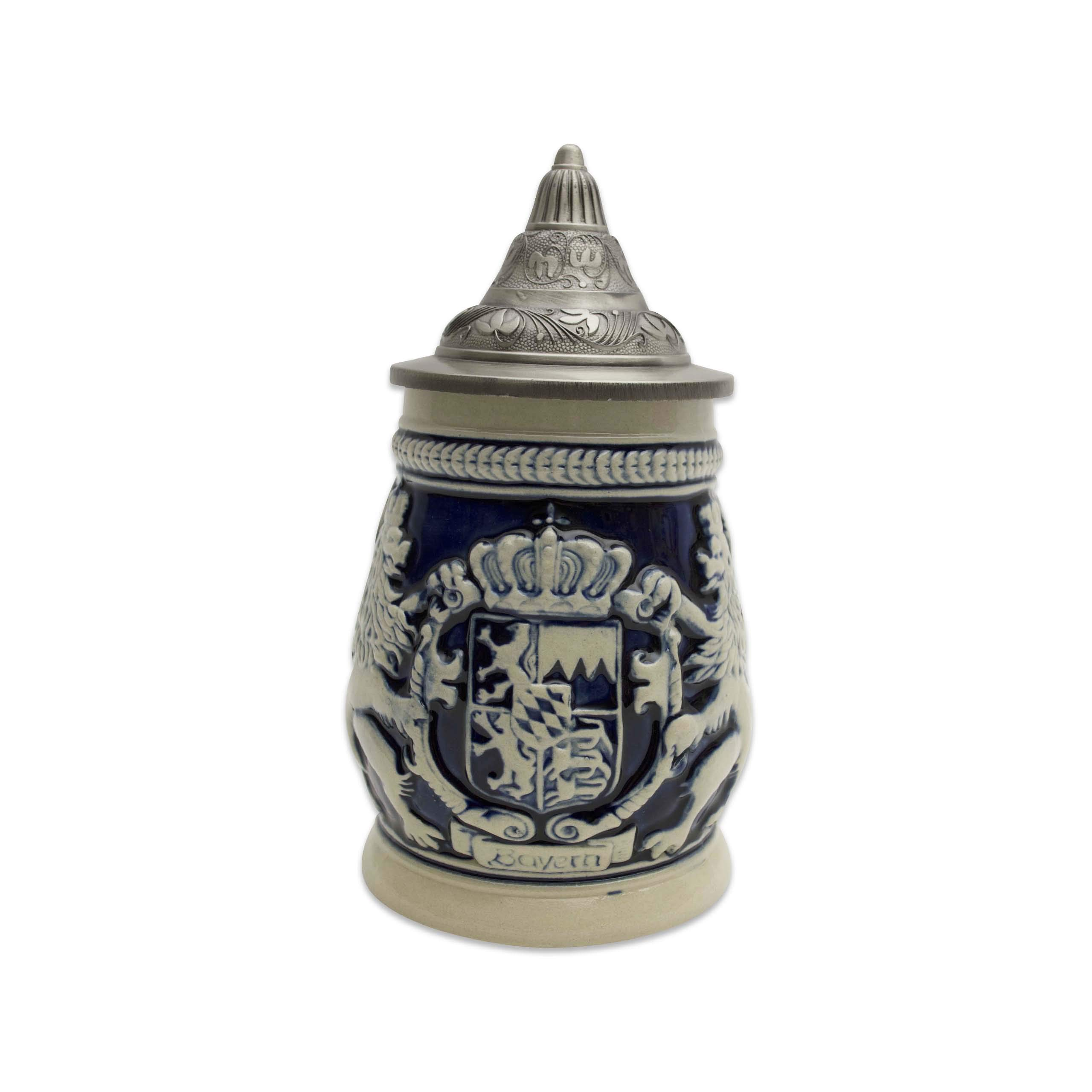 Beer Stein Germany Bayern Coat of Arms Lidded Beer Mug by E.H.G. | .75 Liter