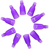 10 Pieces Acrylic Nail Art Soak Off Clip Cap UV Gel Polish Remover Wrap Nail Tool (Purple)