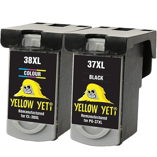 Yellow Yeti PG-37 CL-38 Cartuchos de Tinta remanufacturados Negro ...