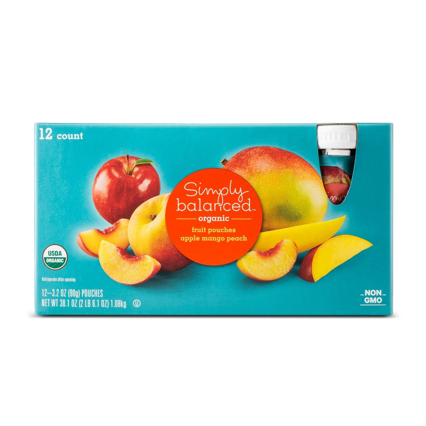 Apple Mango Peach Fruit Pouch 12ct - 3.2oz - Simply Balanced