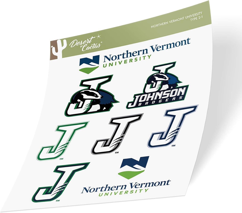 Northern Vermont University Johnson Badgers NCAA Sticker Vinyl Decal Laptop Water Bottle Car Scrapbook (Type 2 Sheet)