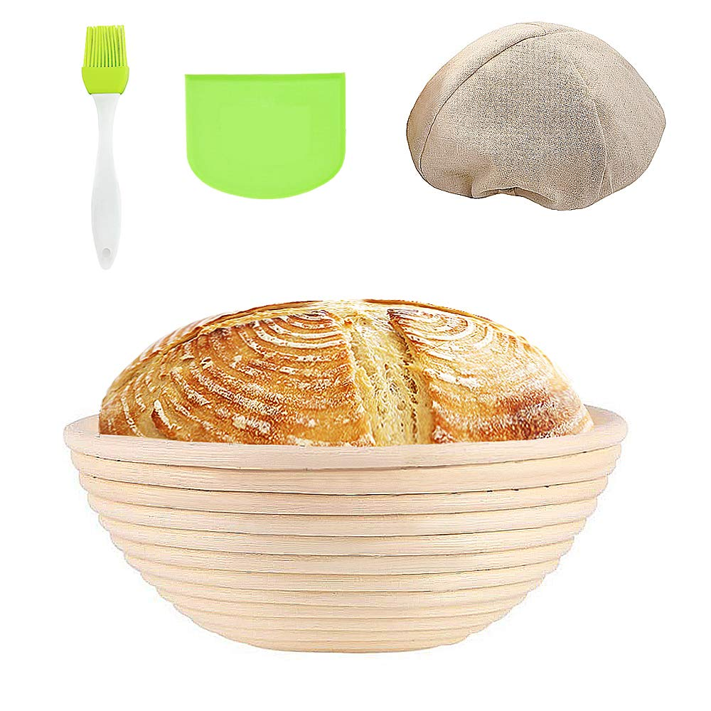 Banneton Proofing Basket Round Sourdough Proofing Basket Set with Cloth Liner Dough Scraper Silicone Brush Natural Rattan Bread Basket Smooth Durable for Professional & Home Bakers (1Pack, 10in) by smoukerjk