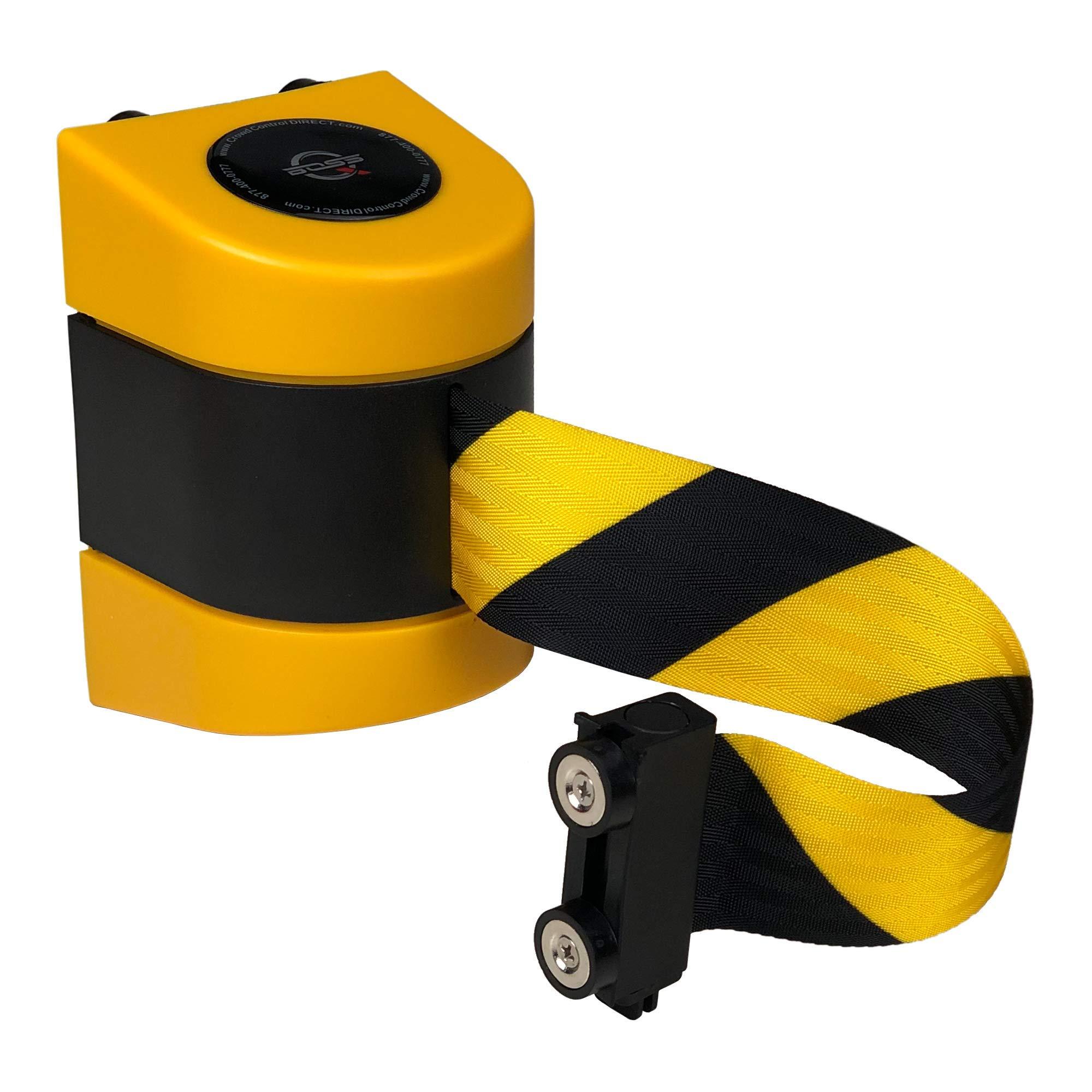 ''Q-Boss'' Magnetic Retractable Barrier - 15' Black/Yellow Chevron Belt