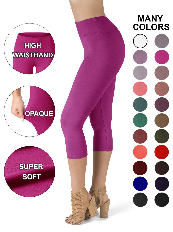SATINA High Waisted Super Soft Capri Leggings - 20 Colors - Reg & Plus Size (One Size, Fuschia)