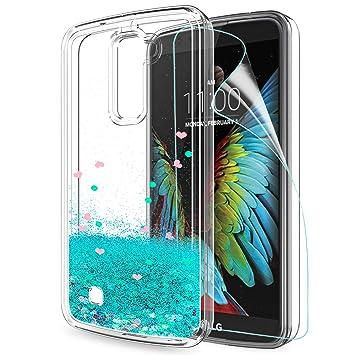 LeYi Funda LG K10 2016 Silicona Purpurina Carcasa con HD Protectores de Pantalla,Transparente Cristal Bumper Telefono Gel TPU Fundas Case Cover para ...