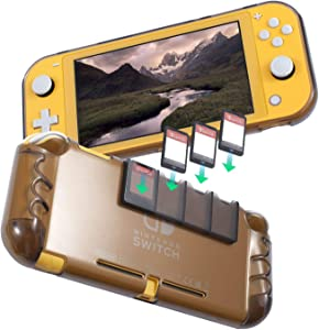 Protective Case Compatible with Nintendo Switch Lite 2019, Soft Flexible TPU Grip Cover with 4 Game Card Slots Holder, Shock-Absorption & Anti-Scratch Design, Clear Black by Insten