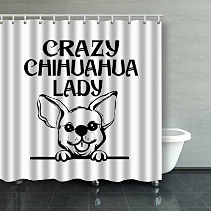 Family Unique Decorative Custom Xmas Shower Curtains Chihuahua Pet Waterproof Polyester Fabric Home Decor Bath Curtain