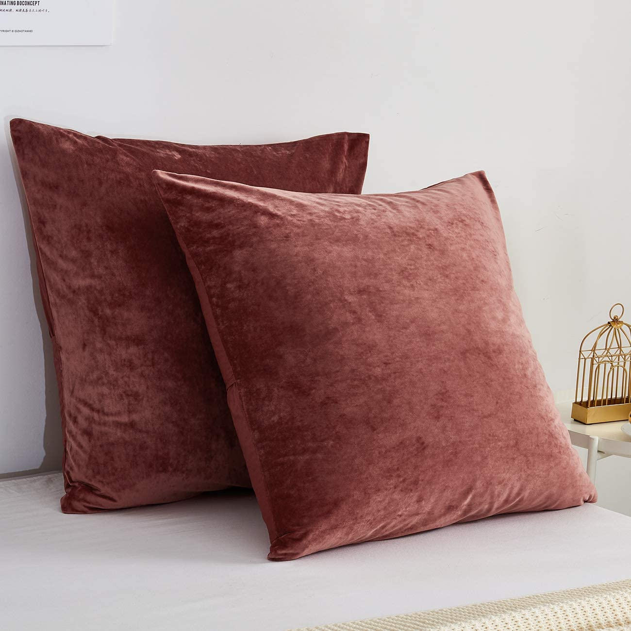 Amazon Com Phf Velvet Euro Sham Set Of 2 26 X 26 Soft Solid Home Decorative Euro Throw Pillow Covers For Couch Sofa Bed No Filling Burgundy Home Kitchen