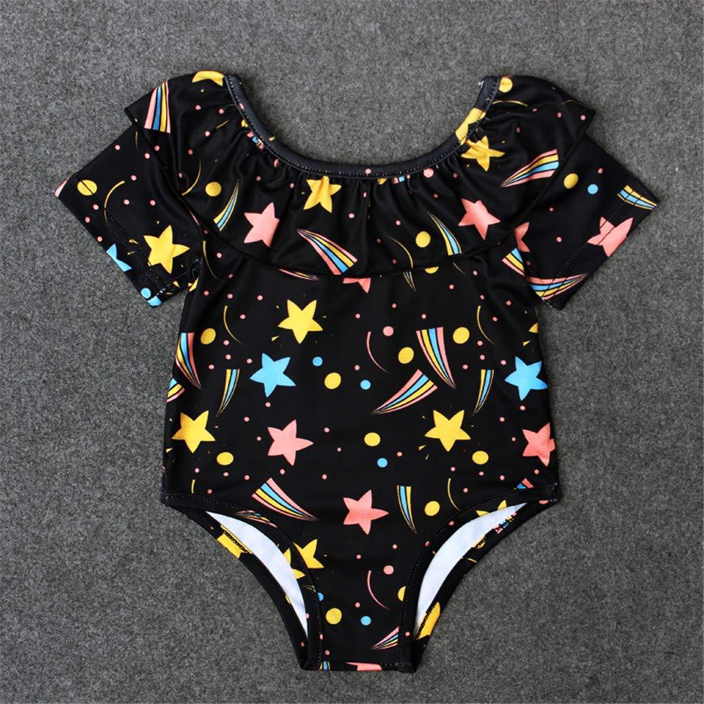Black Swimsuit Short Sleeve for Baby Infant Girl Star Baby Swimwear One Piece Beachwear