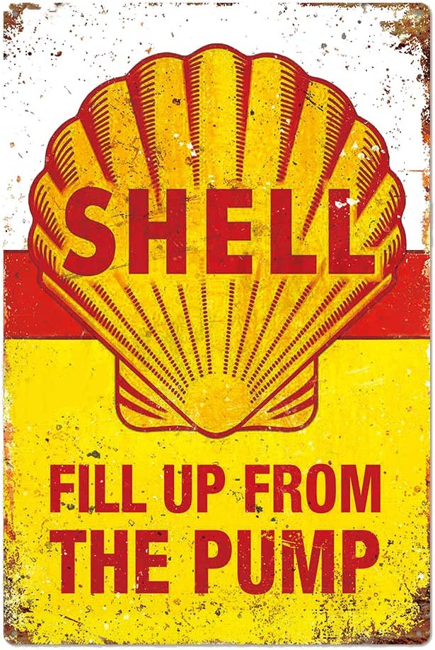 Shell Fill Up From the Pump, Vintage Design Tin Metal Wall Decoration Signs, Original Design Tinplate Wall Art Poster for Garage