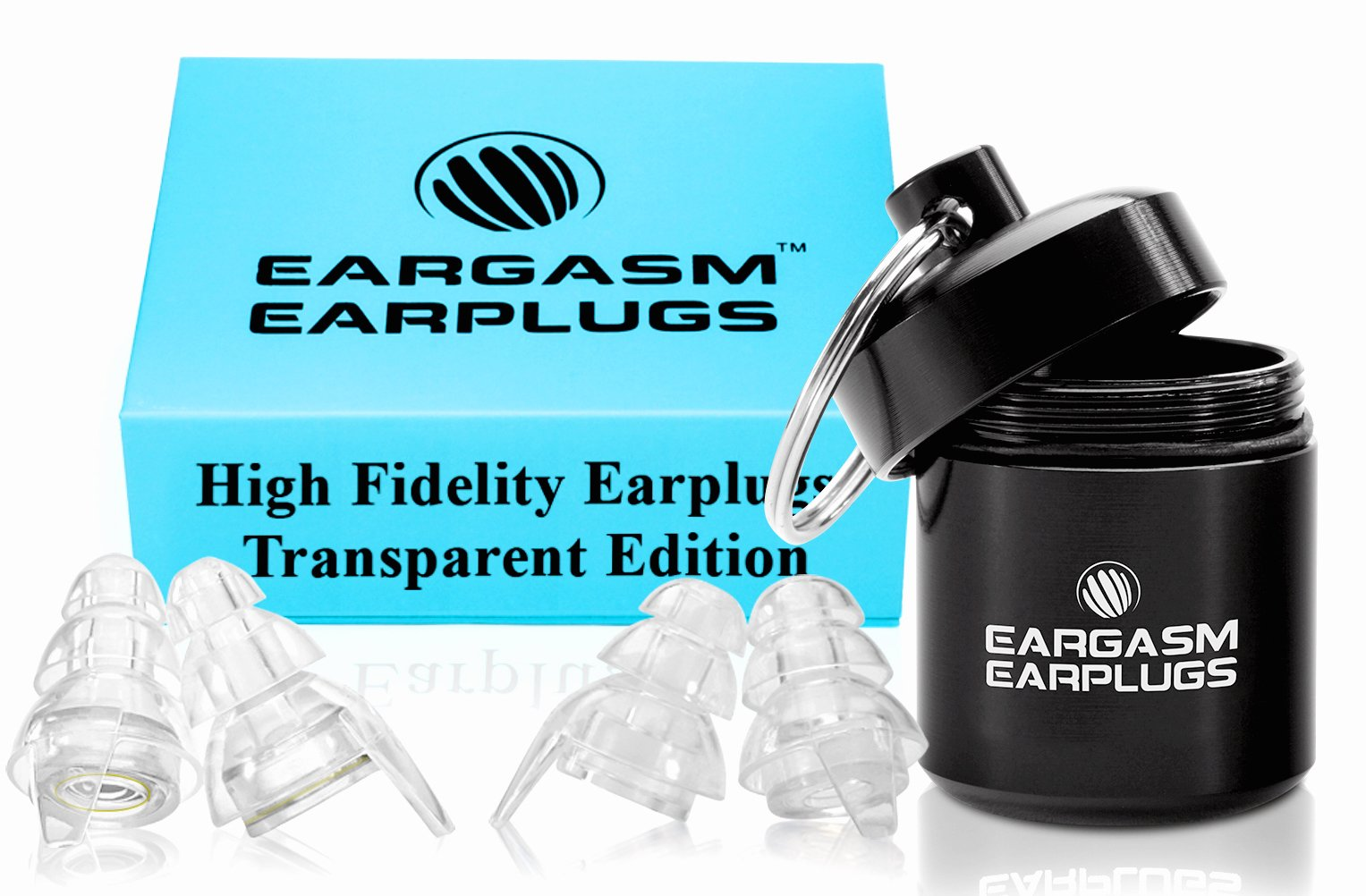 Eargasm High Fidelity Earplugs for Concerts Musicians Motorcycles Noise Sensitivity Conditions and More - Transparent Edition by Eargasm