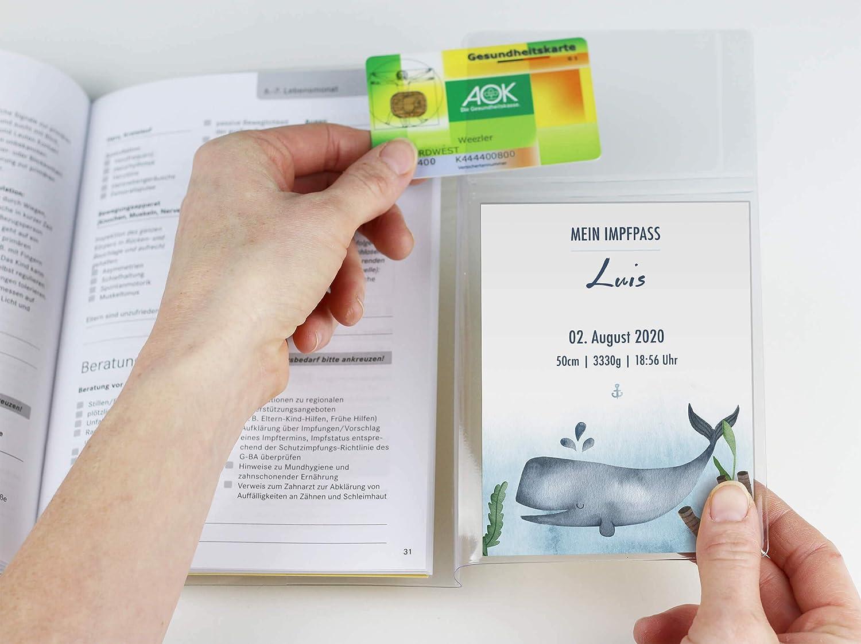 U-Heft Set 3-teilig, Blauwal U-Heft H/ülle SET Walfisch Untersuchungsheft H/ülle /& Impfpassh/ülle Schwangerschaft Geschenkidee personalisierbar mit Namen