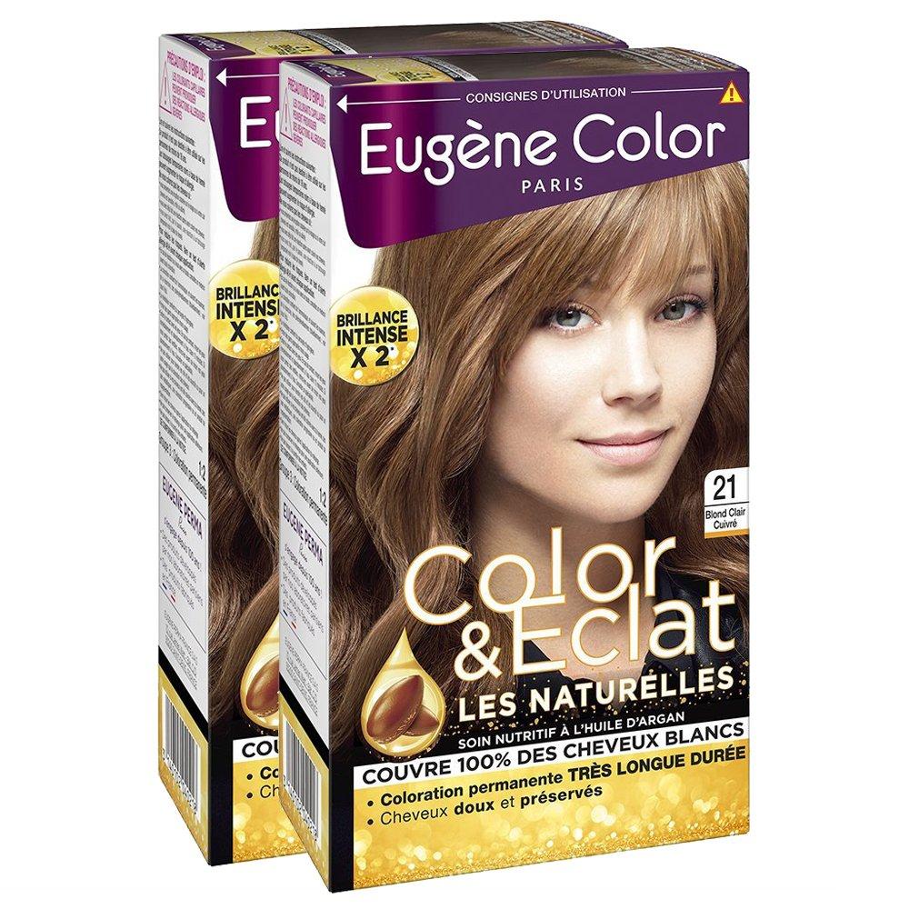 Eugène Color -Color & Eclat - N°21 Blond Clair Cuivré - Crème Colorante Permanente - Lot de 2