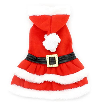 smalllee_lucky_store small dog clothes for girls boys cat dog christmas costume hooded fur trim dress belt