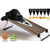 V Blade Stainless Steel Mandoline Slicer - Fruit and Food Slicer, Vegetable Cutter, Cheese Grater - Vegetable Julienne Slicer with Surgical Grade Stainless Steel Blades - Includes 6 Different Inserts