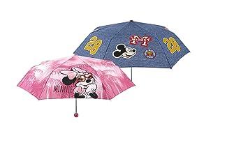 PERLETTI perletti50113 50 x 8 cm Unisex Mini 3 Secciones Impreso Minnie Plus Mickey Paraguas a