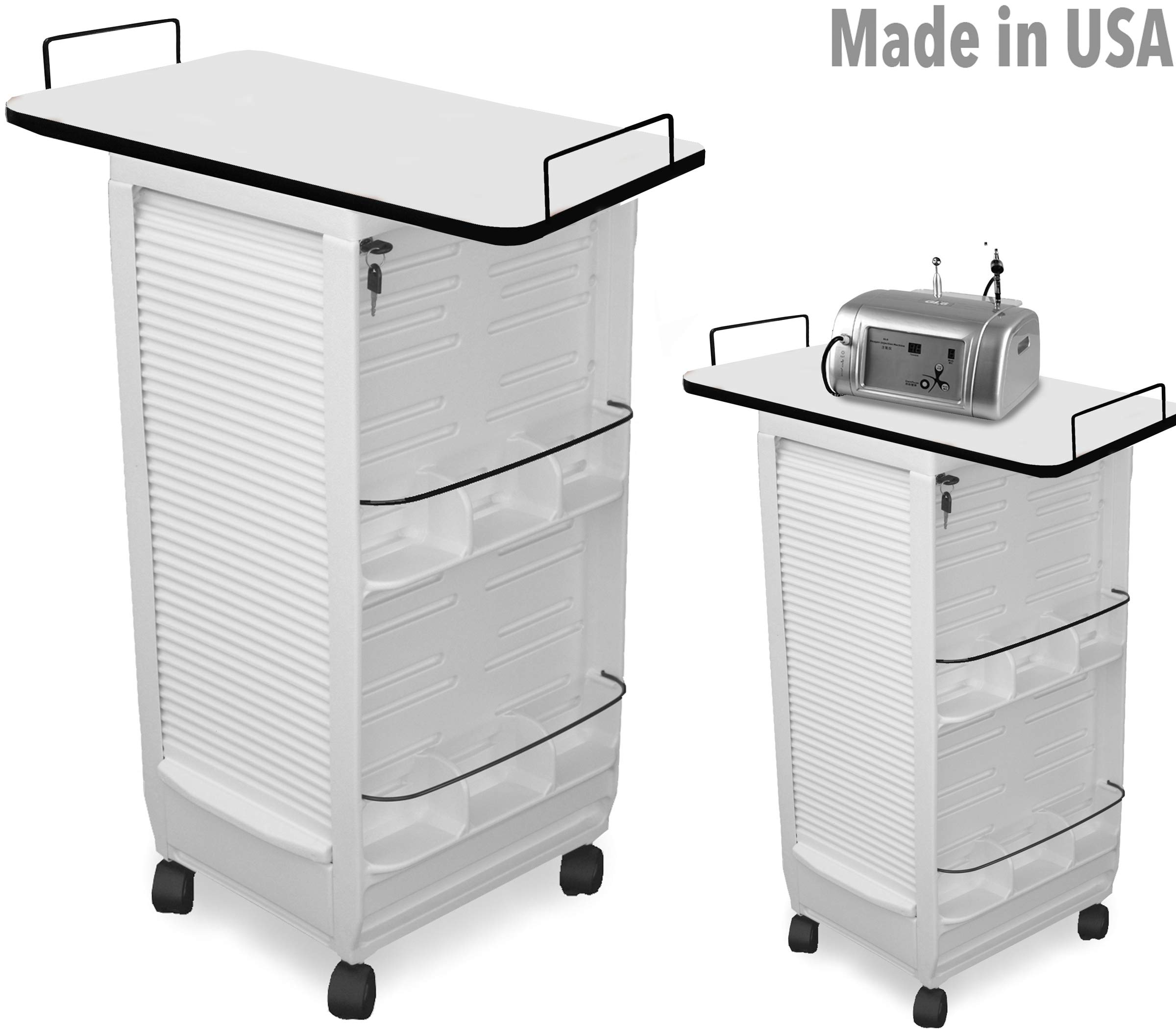 C180E-LT MHF Medical Physician Roll-about Trolley Storage Cart w/109 white Lam. top MADE IN USA