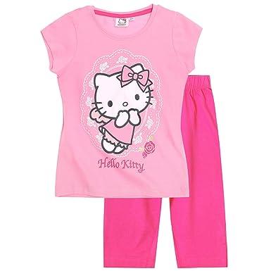 56a1262a1 GIRLS Hello Kitty Cotton Capri Pyjamas Short Sleeve PJ Set Character  Nightwear (8 Years): Amazon.co.uk: Clothing