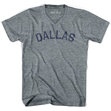 Dallas City Vintage V-neck T-shirt, Athletic Grey, Adult X-