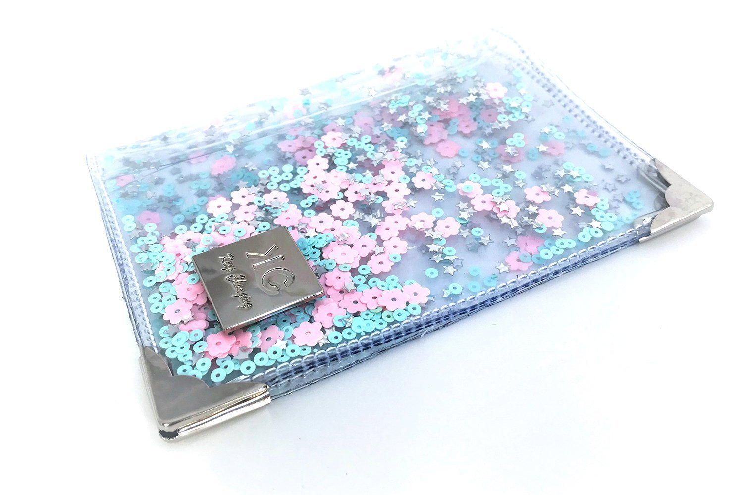 Designer Pastel Glitter Passport Holder, Handmade Transparent Cute Vegan Cover for Women, Clear Passport Case