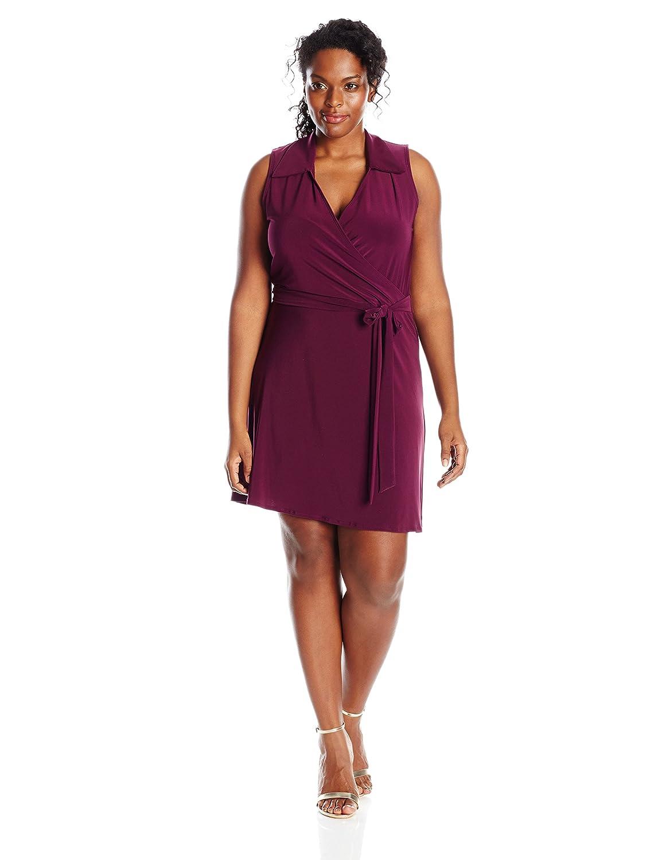 Star Vixen Womens Plus-Size Sleeveless Faux-Wrap Dress