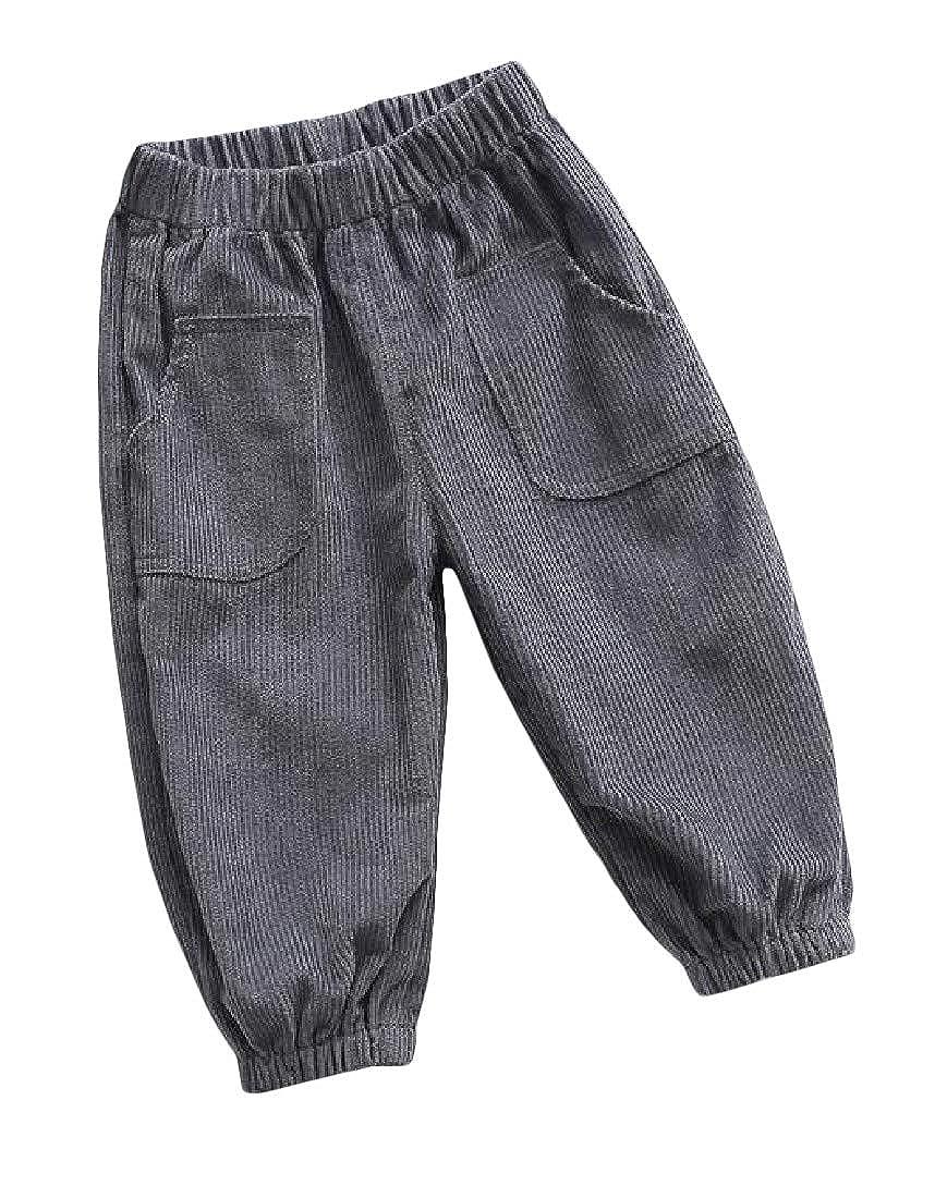 Wopop Toddler Boy Lantern Pants Corduroy Loose Fit Easy Fit Cotton Jogger Pants