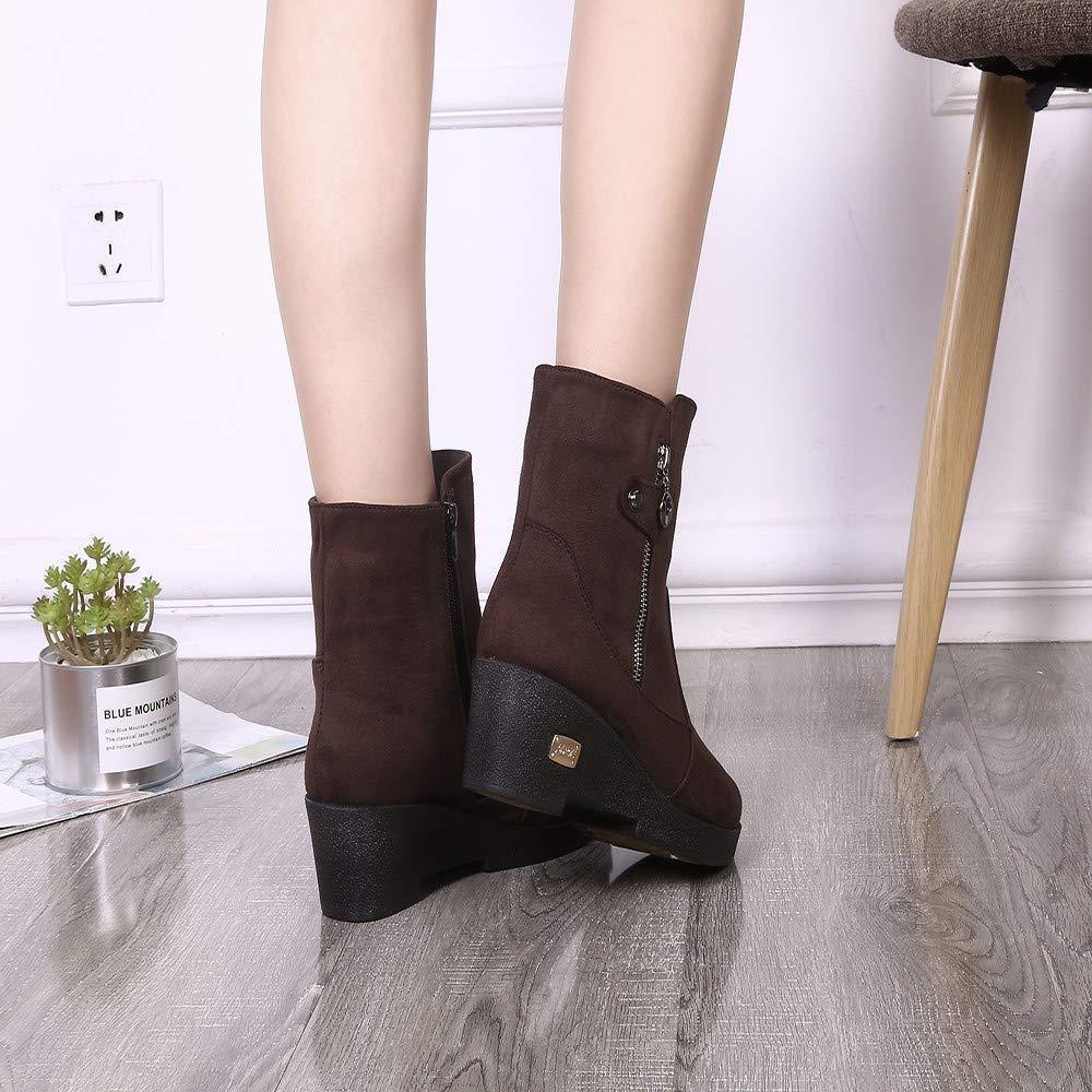 HhGold Martin Stiefel Damen Schuhe Breathable Plus Cotton Seitlicher Seitlicher Seitlicher Reißverschluss Warme Schuhe Snow Stiefel Stiefelies Freizeitschuhe Kurze Stiefel Winterstiefel (Farbe   Kaffee, Größe   CN 35=EU 36) 26b5a1