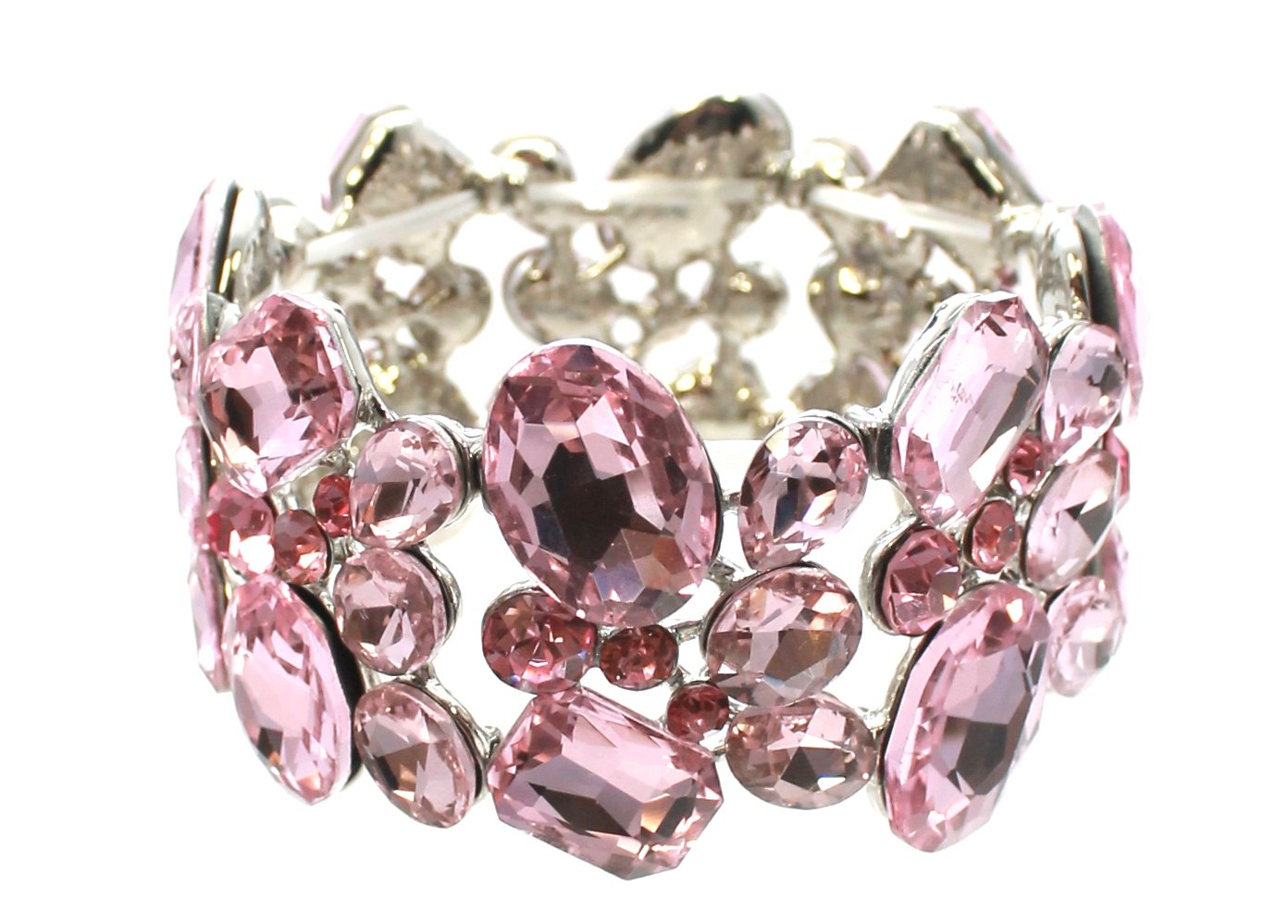 Carole Fay Jewelry elegant Lightt Rose on Silver Stretch Bracelet, fits almost every wrist! Perfect for both Prom and Pageant, as well as any Special Occasion!
