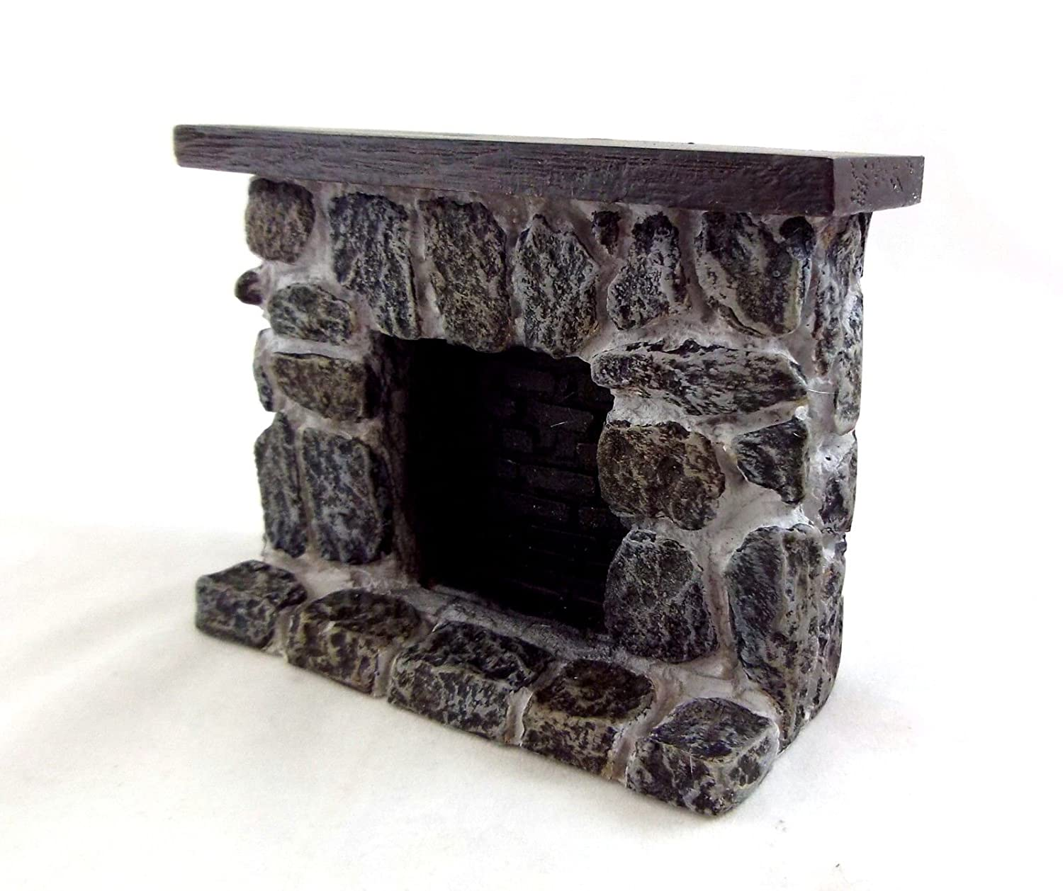 Dollhouse Miniature Gray and Tan Fieldstone Fireplace Aztec Imports Inc.