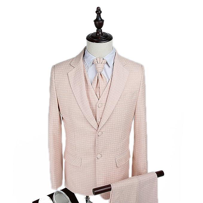 Amazon.com: wilazb Hombres Traje Slim traje de color rosa ...