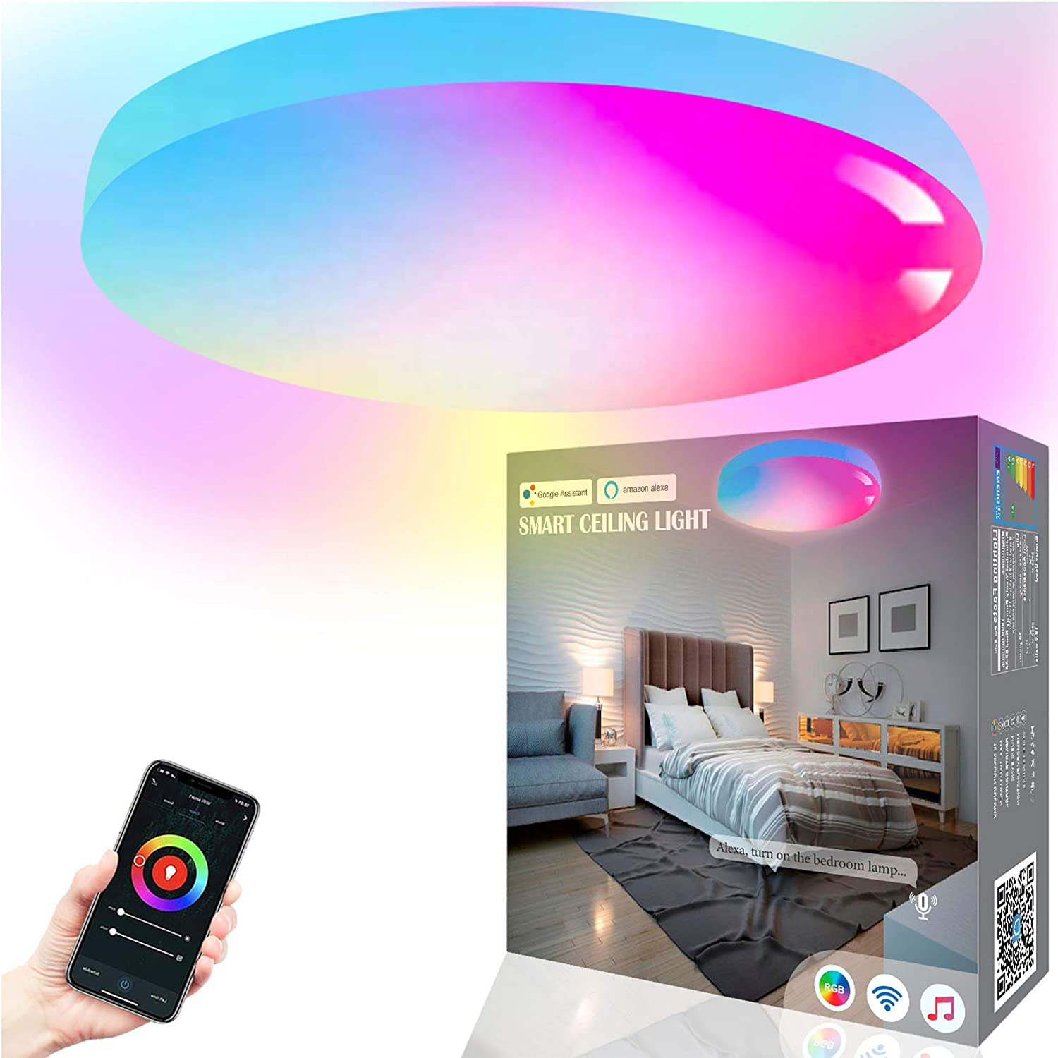 MikeWin Smart Ceiling Light Flush Mount LED WiFi 18W 12 Inch, Compatible with Alexa Google Home, Dimmable 2700-6500K RGBCW Low Profile Ambient Light Fixture for Bedroom Living Room