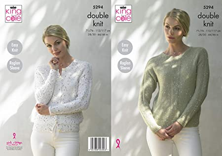 ec625824b Image Unavailable. Image not available for. Colour  King Cole 5294 Knitting  Pattern Womens Easy Knit Raglan Cardigan and ...
