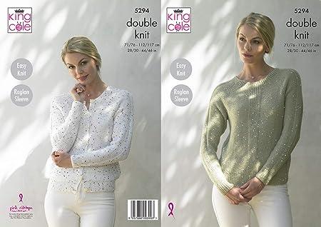 022025eeeb92fa King Cole 5294 Knitting Pattern Womens Easy Knit Raglan Cardigan and Sweater  in Galaxy DK