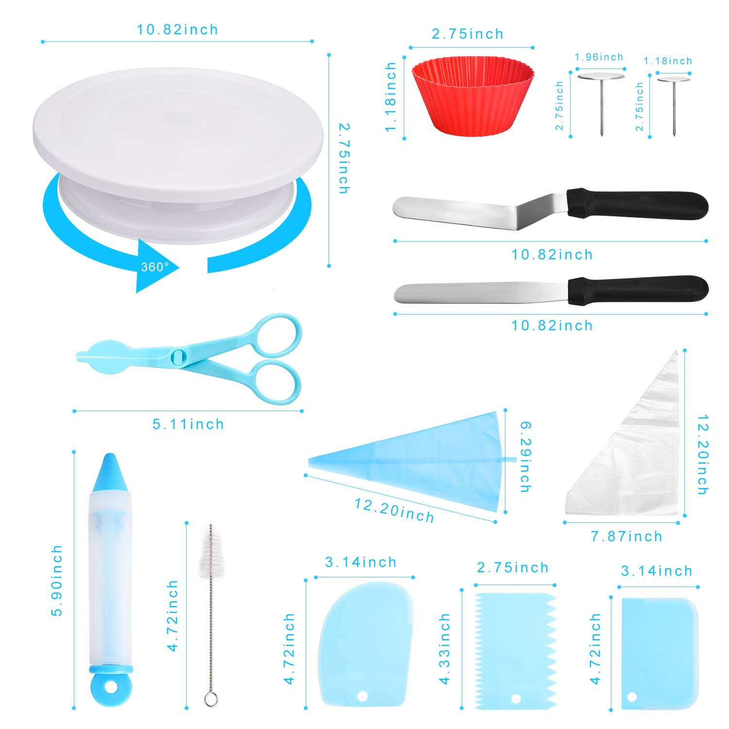 83 pcs Cake Decorating Supplies Kit for Beginners-Cake Turntable Stand-Icing Tips, Pastry Bags, Icing Spatula, Icing Smoother,Flower Nails,Flower Lifters,Decorating Pen,Cupcake Molds,Cleaning Brush