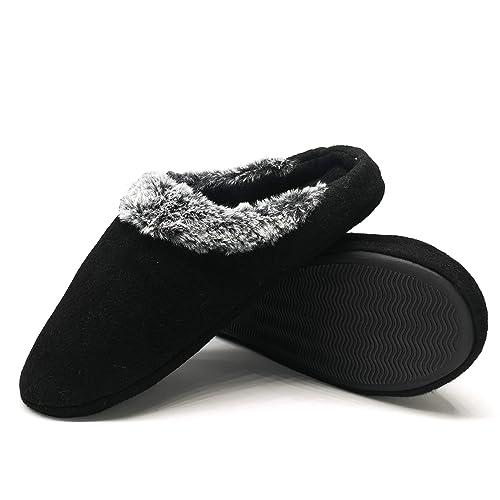 da2000fbb63 Mens Felt Slippers Warm Fuzzy Faux Fur Scuff Slipper Fuzzy Plush Indoor  House Slip on Shoes Non Slip Rubber Sole