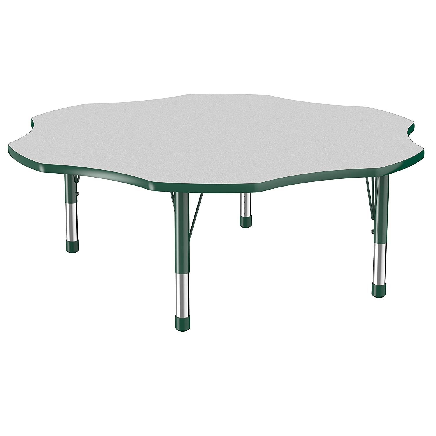 Factory Direct Partners Flower Activity School and Classroom Kids Table (60 inch), Toddler Legs for Collaborative Seating Environments, Adjustable Height 15-24 inches - Gray Top and Green Edge
