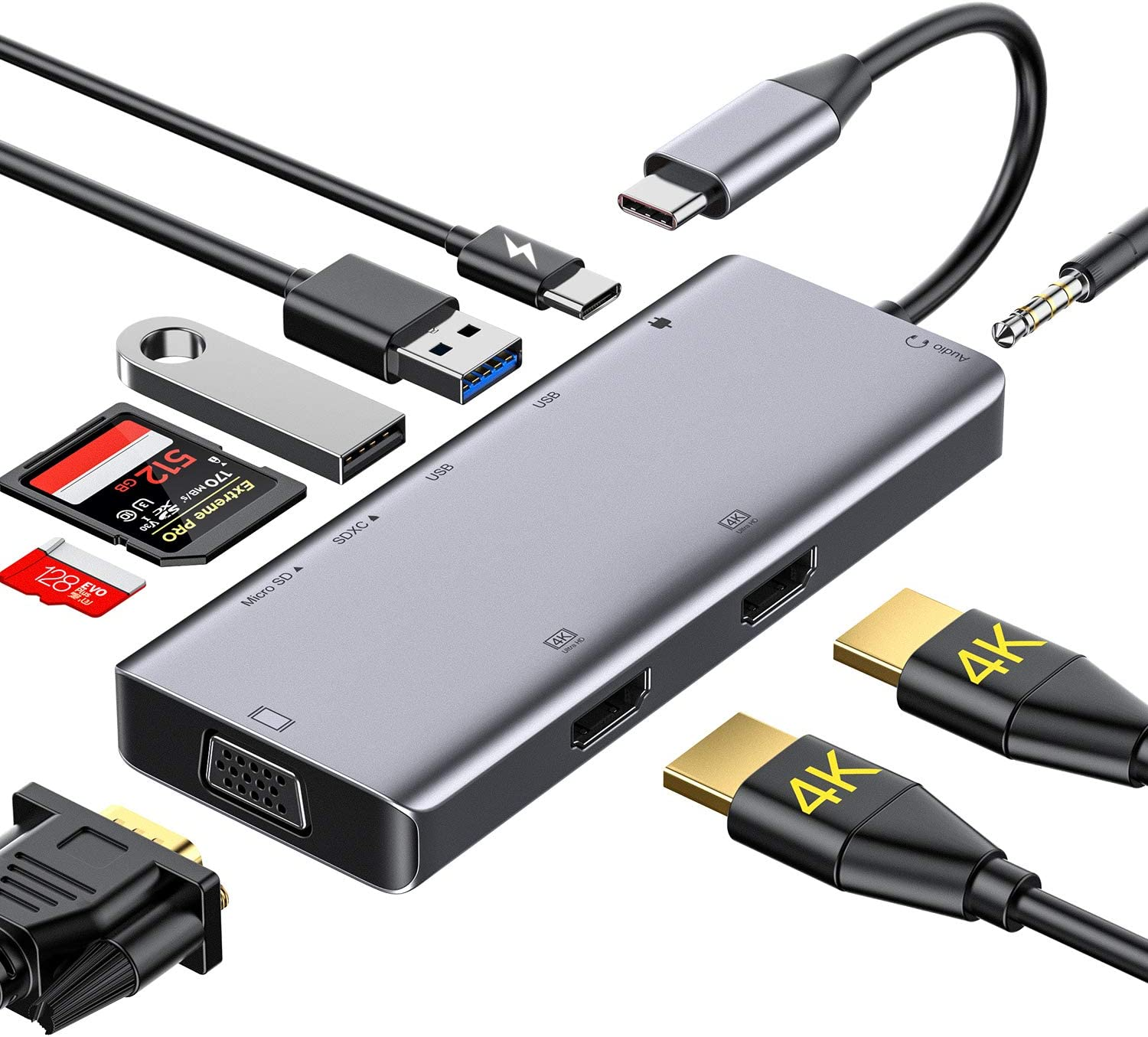 USB C Hub,GIKERSY USB Type C Adapter Docking Station Compatible with MacBook Pro,Dell XPS13 &15'',with 2 HDMI,VGA,USB3.0/2.0,87W PD,SD/TF Card Reader,Audio Output(Different Displays Only for Windows)