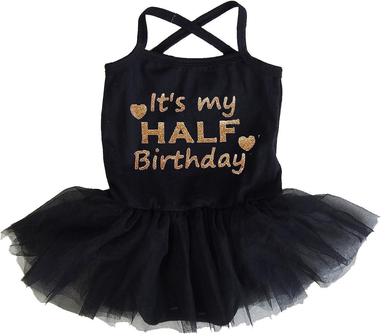 Kirei Sui Baby Half Birthday Tulle Tutu Bodysuit /& 1//2 Gold Crown Headband