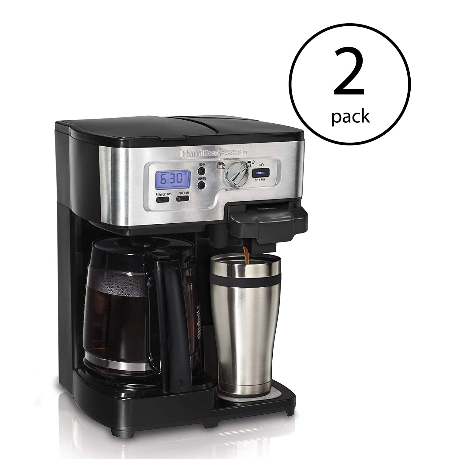 Hamilton Beach 2 Way FlexBrew 1 to12 Cup KCup Ready Coffee Maker Brewer (2 Pack)