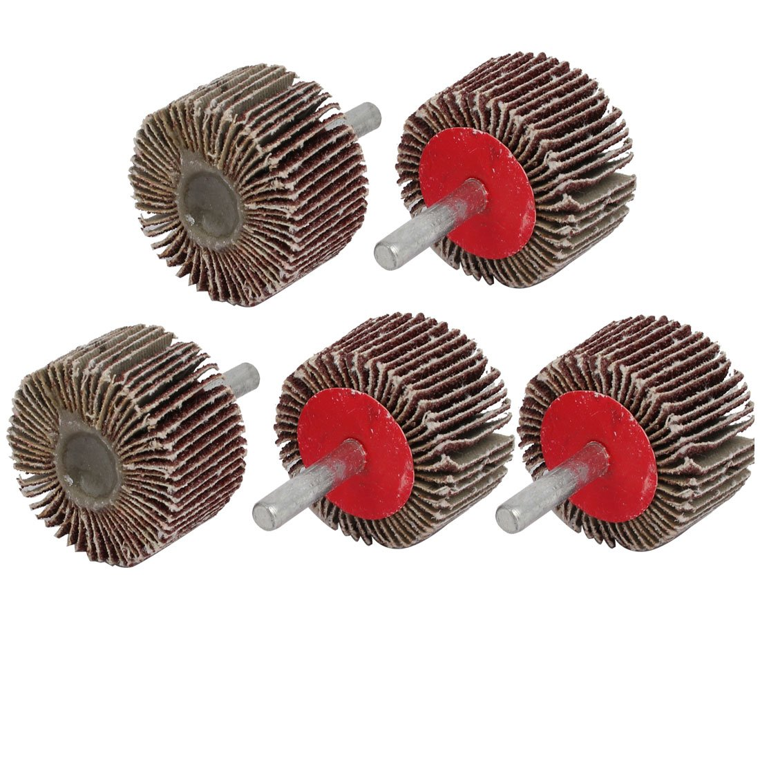 uxcell 40mm Dia 80 Grit Cylindrical Head Emery Cloth Abrasive Flap Wheel Brown 5pcs a17051000ux0546