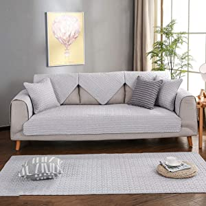 Non-Slip Sofa Covers, Deluxe Quilted Cotton Sofa slipcover Protector Soft Breathable Sofa Furniture Protector -Sold by Piece-D 1pc-110x240cm