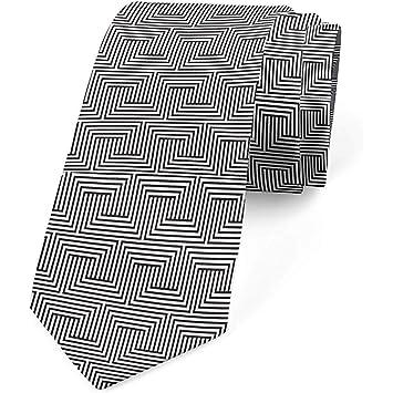 Corbata, líneas simétricas ilusorias, gris carbón y blanco: Amazon ...