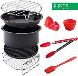 B.WEISS Air Fryer Accessories Set 9 pcs Compatible for B. WEISS Philips COSORI Gowise USA Cozyna Airfryer 3.2QT - 3.5QT - 3.7QT-5.5QT
