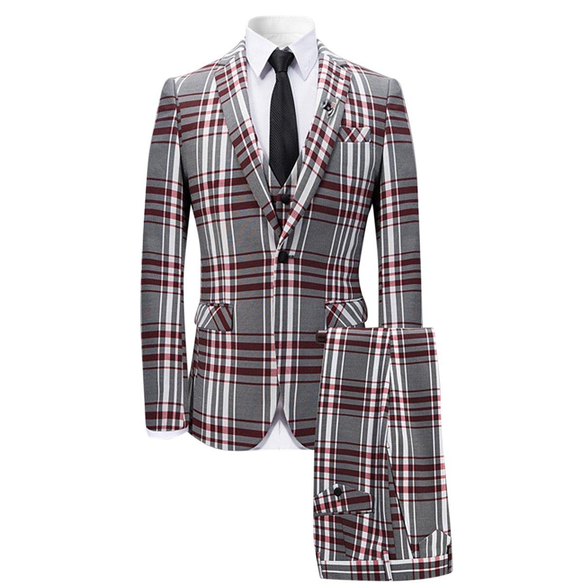 Men's 3 Piece Plaid Suit Slim Fit Christmas Party Dress